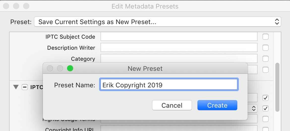 Type the name for your new preset
