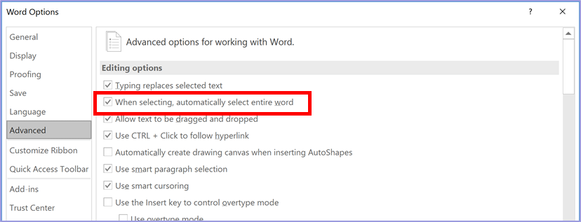 When selecting automatically select entire word checkbox
