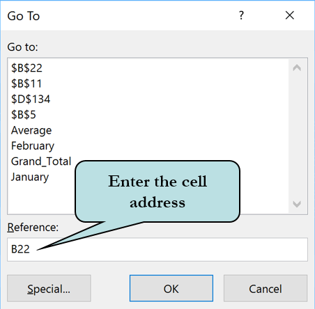 Reference field in the Go To dialog box