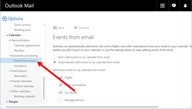 Click Events from Email in left pane