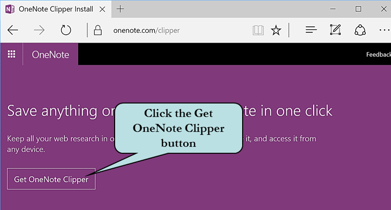 Click the Get OneNote Clipper icon