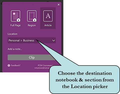 Choose destination notebook and section