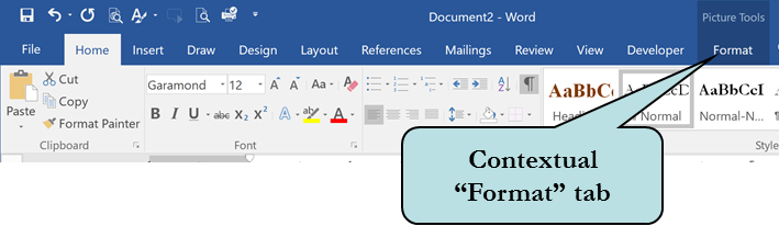Contextual format tab in Word