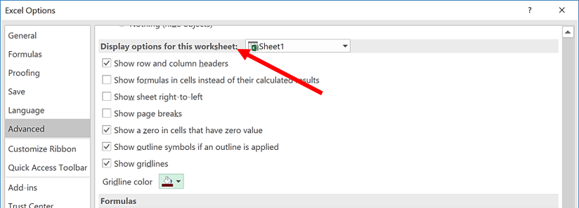 Worksheet Display Options