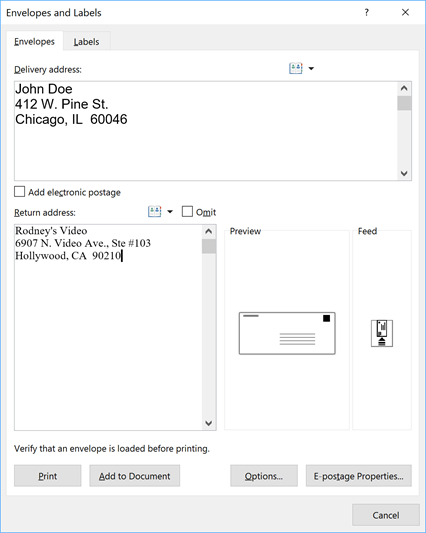 Envelopes dialog box