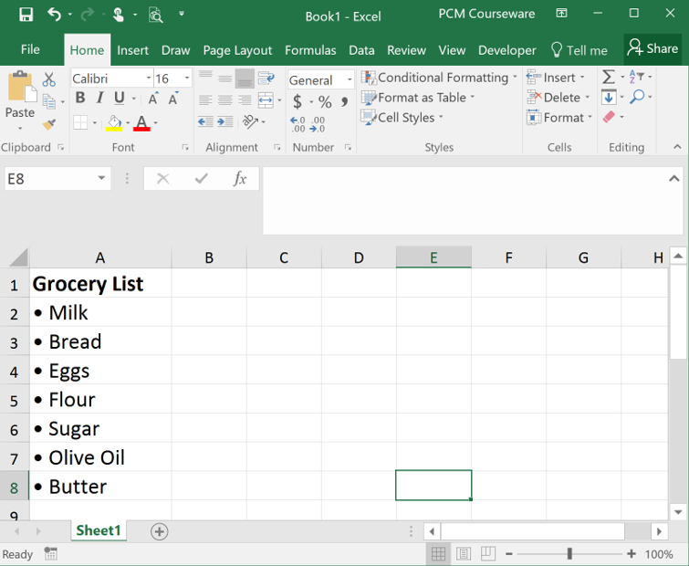 Bulleted List in Excel image