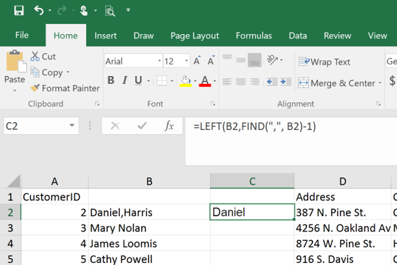 Extract First and Last Name from an Excel String with comma