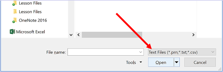 Click the Files of Type drop-down list