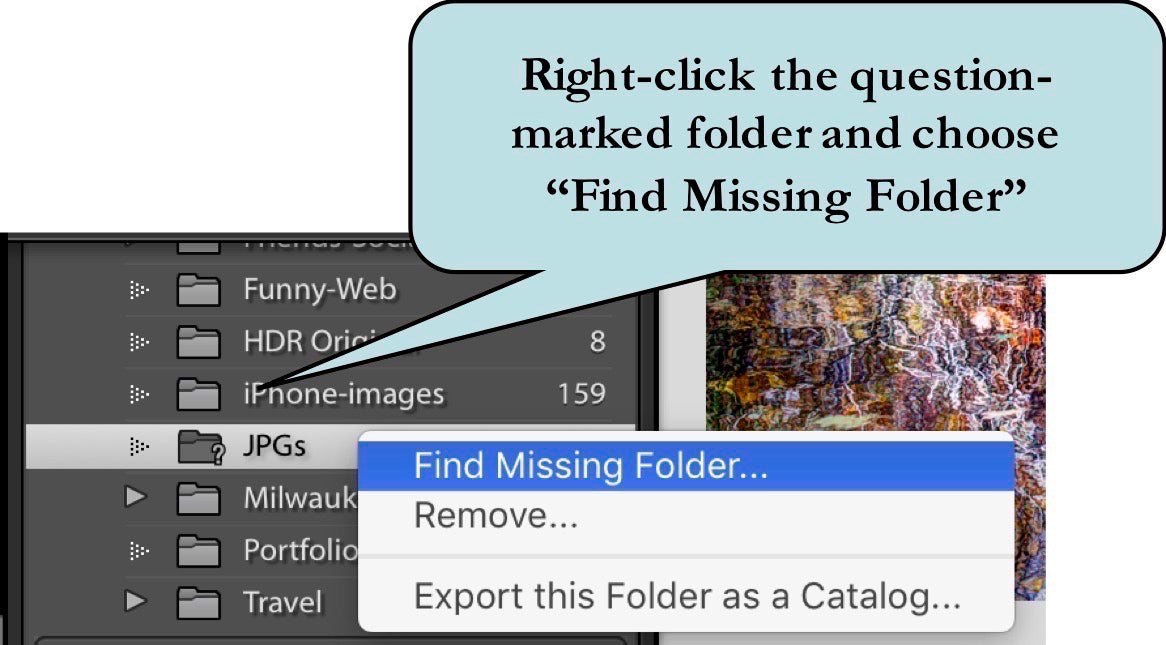 Right-click and choose Find Missing Folder