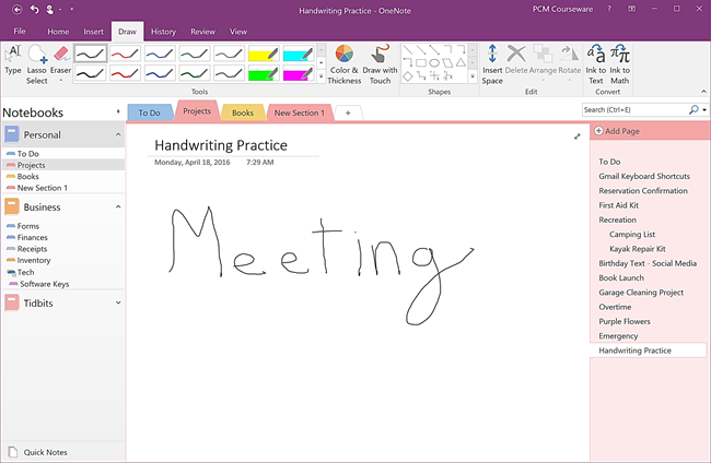 Handwriting in a OneNote Note