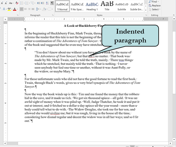 Example of indented paragraph