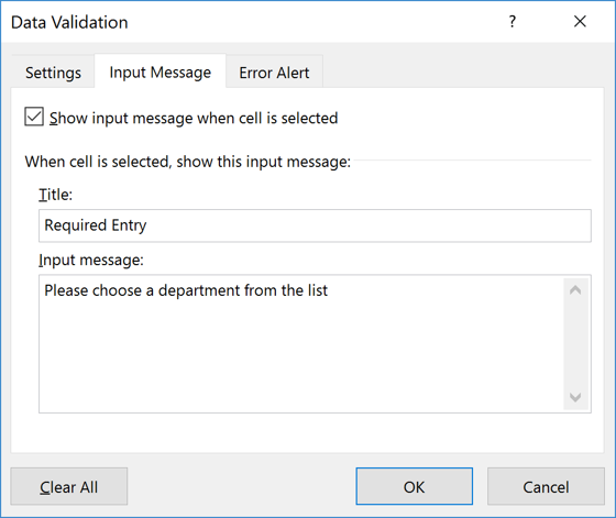 Enter message from Input Message tab