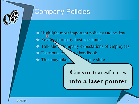Cursor transforms into a laser-pointer