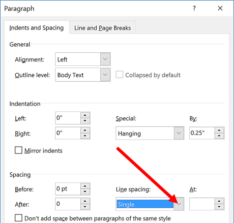 Select Line Spacing Options from drop-down menu