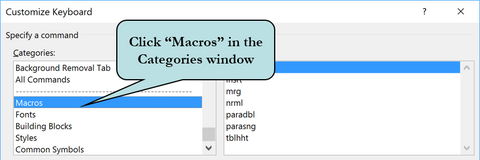 Click Macros in the Category Window