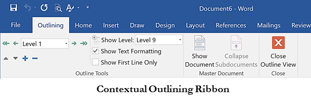 Outlining Ribbon in Word