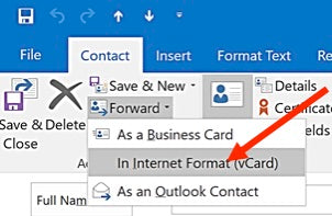 How to forward contact information as a business card in ms outlook select business card format from list reheart Choice Image