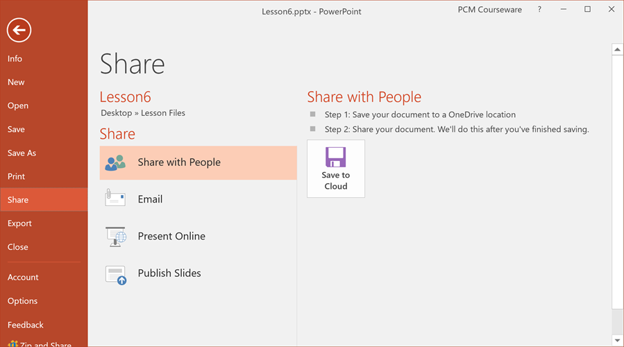 PowerPoint sharing screen