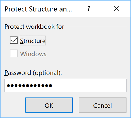 Protect Workbook Structure dialog