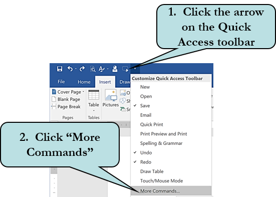 Quick access toolbar arrow and commands