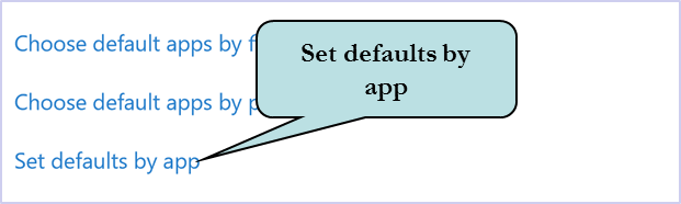 Click Set Defaults by App