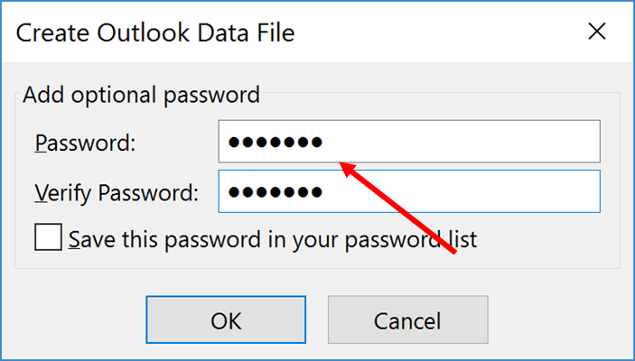 Type in your password information