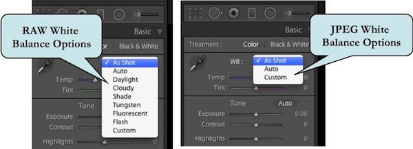 White Balance Options for RAW and JPEG