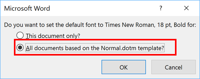 word how to set default font