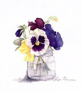 Pansies in Jar
