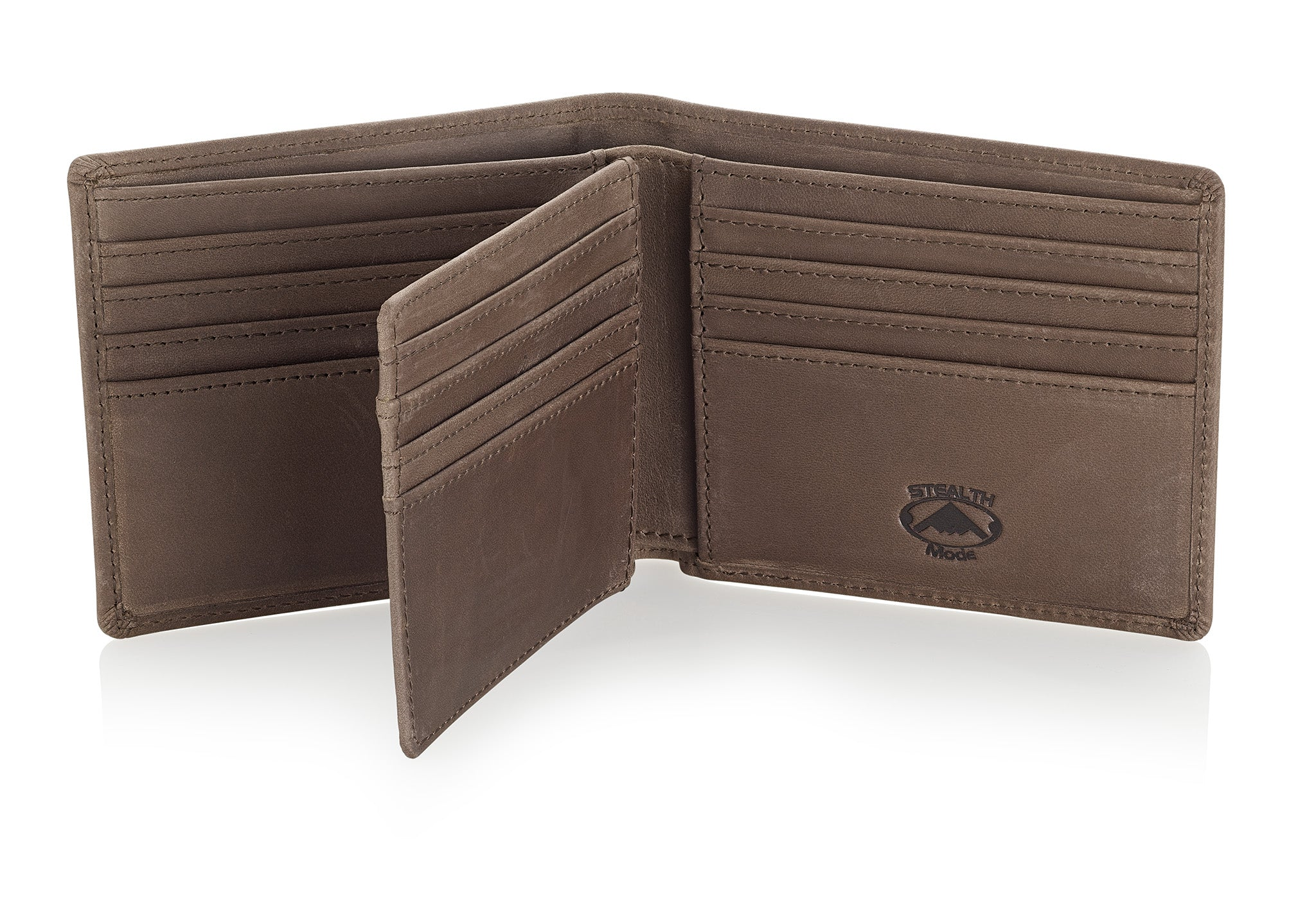 Taupe Bifold Wallet with RFID Blocking and Flip Out ID Holder