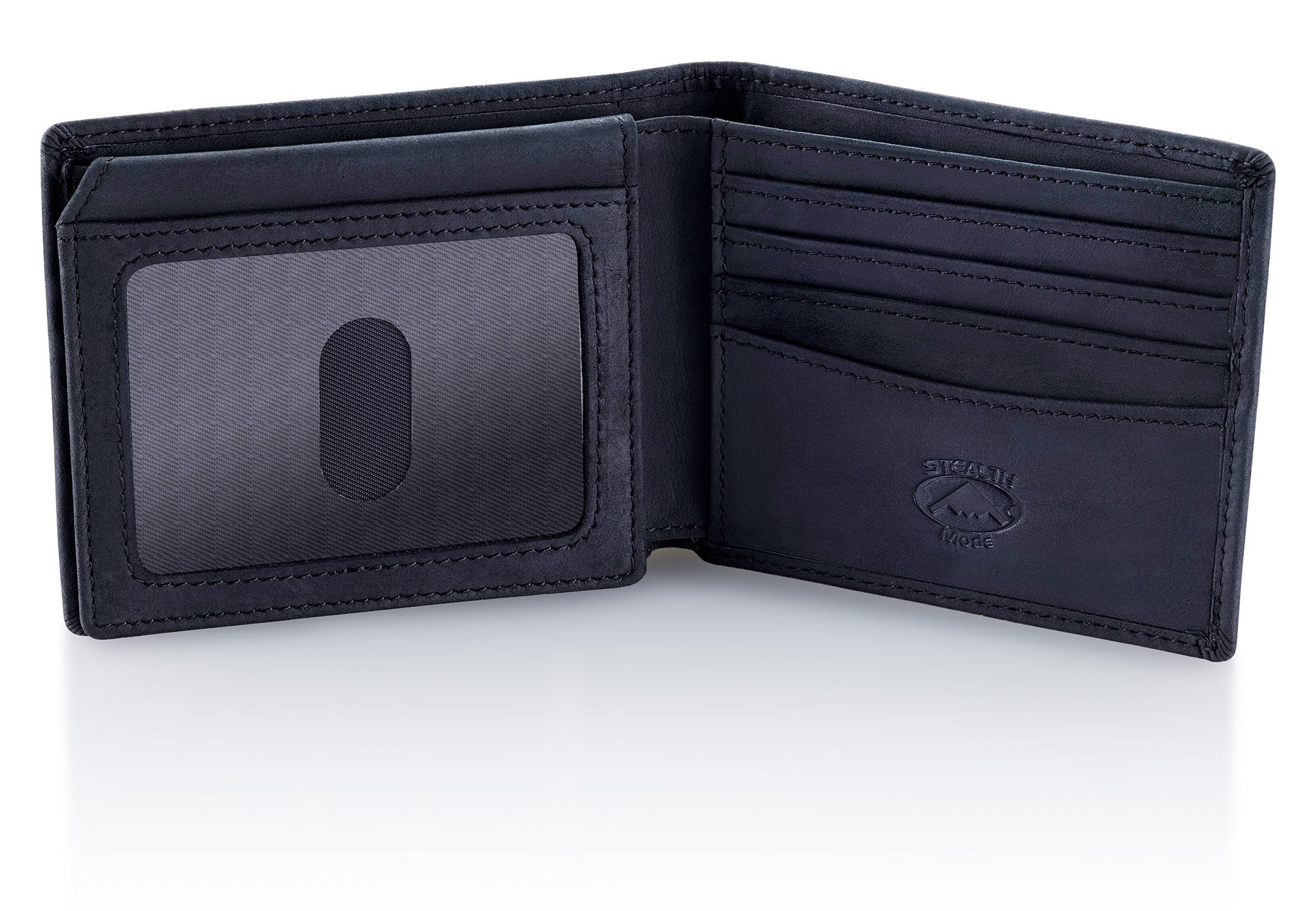 Black Bifold Wallet for Men With ID Window and RFID Blocking