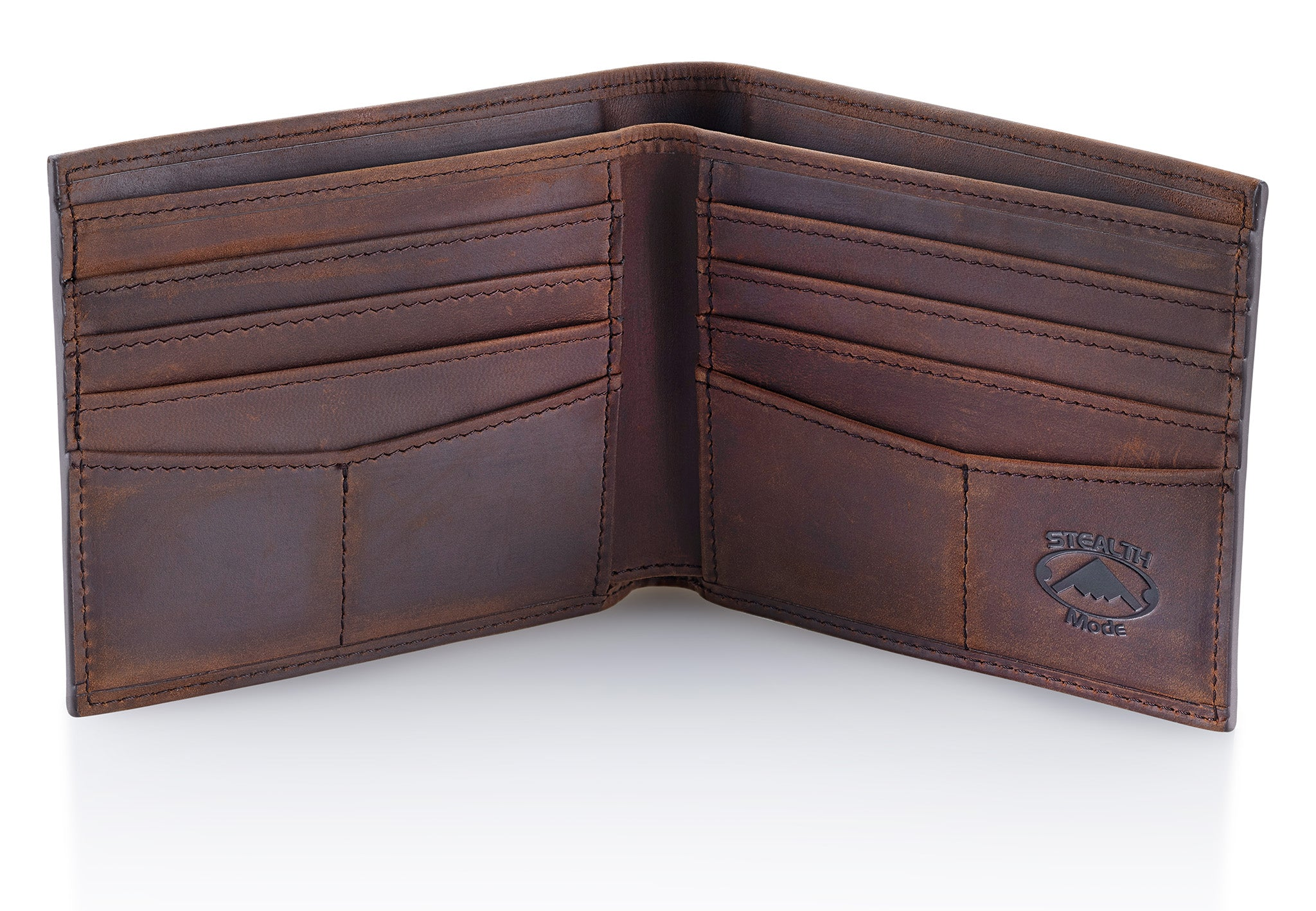 Brown Bifold Leather Wallet with RFID Blocking and 8 Slots
