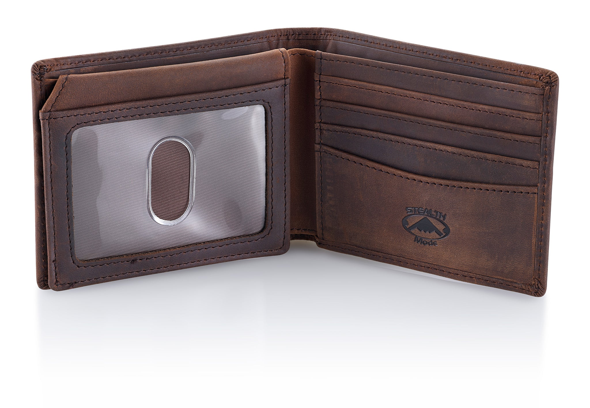 Brown Bifold Wallet for Men With ID Window and RFID Blocking