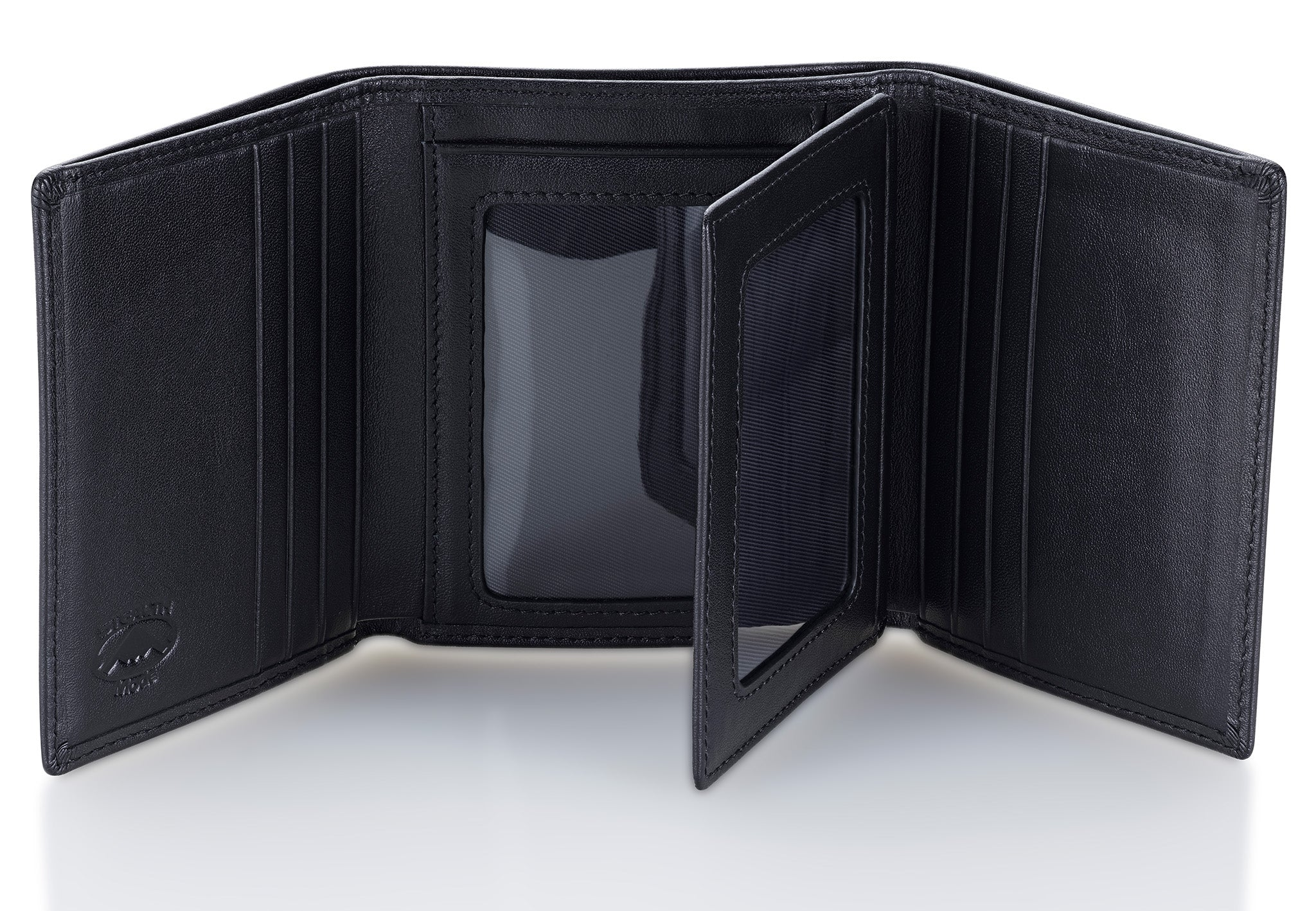 Black Trifold Leather Wallet With RFID Blocking and ID Window
