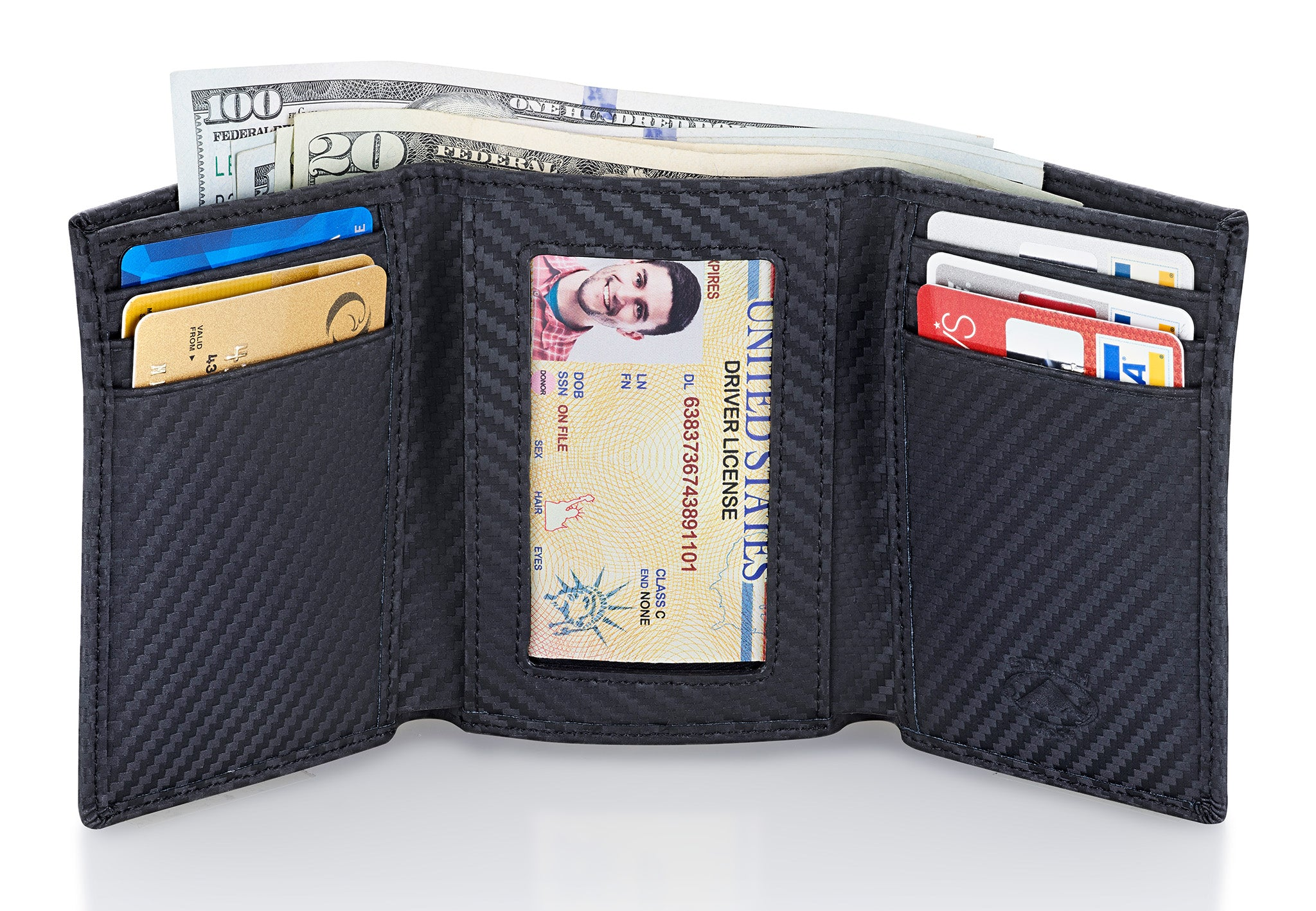 Stealth Mode Trifold RFID Blocking Carbon Fiber Wallet for Men