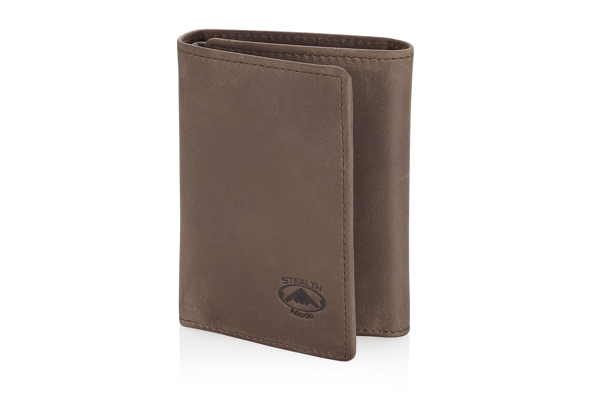 Taupe Trifold Leather Wallet With RFID Blocking and ID Window