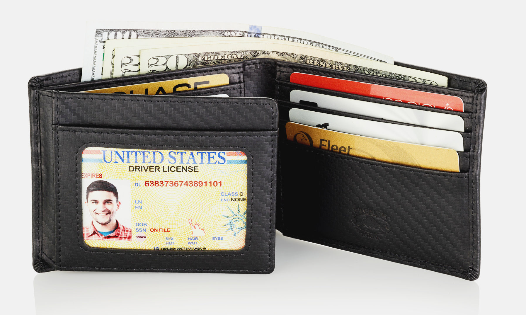 Carbon Fiber RFID Wallet With Flip Out ID Window and 12 Card Slots