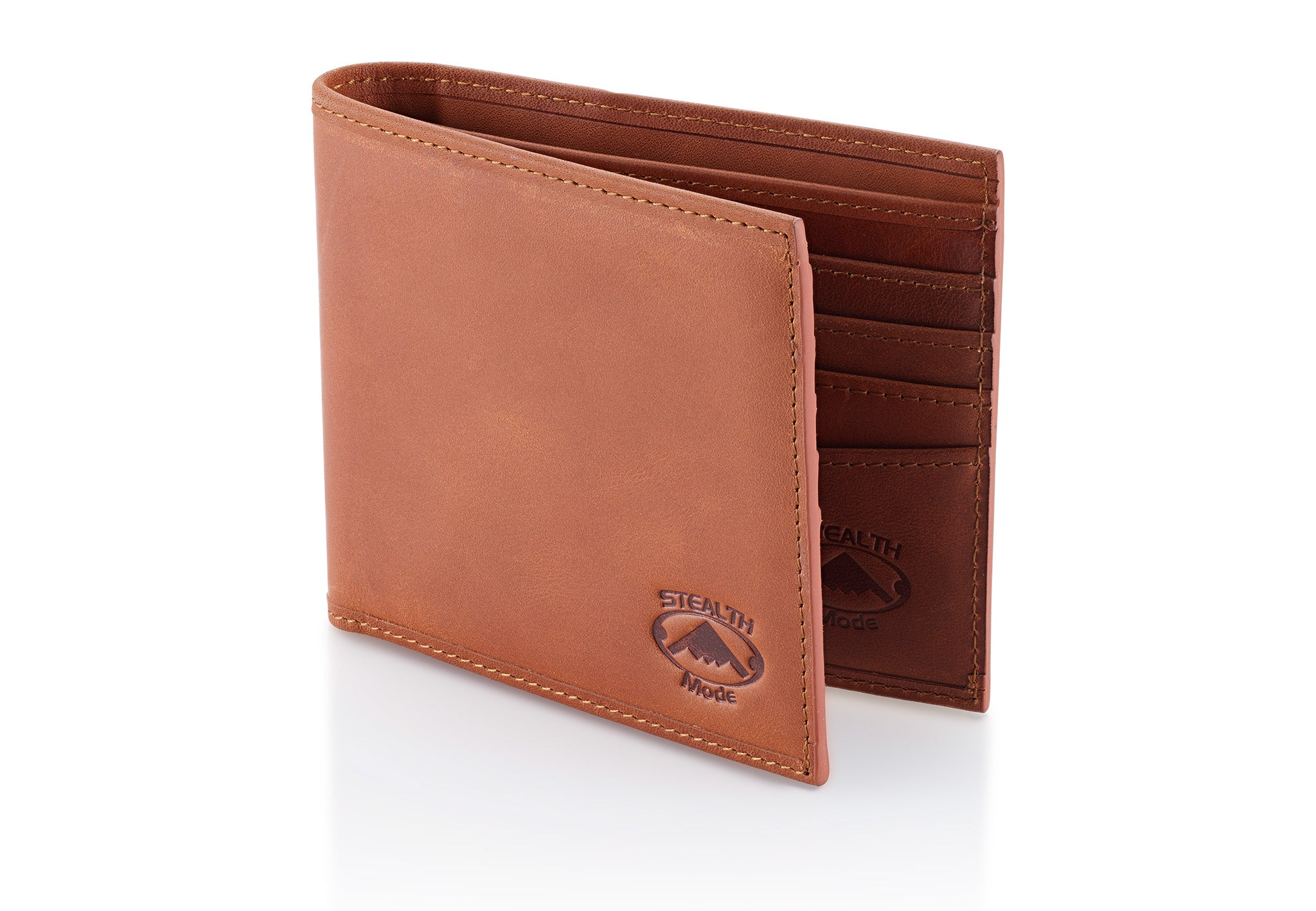 Stealth Mode Men's RFID Blocking Brown Napa Leather Wallet