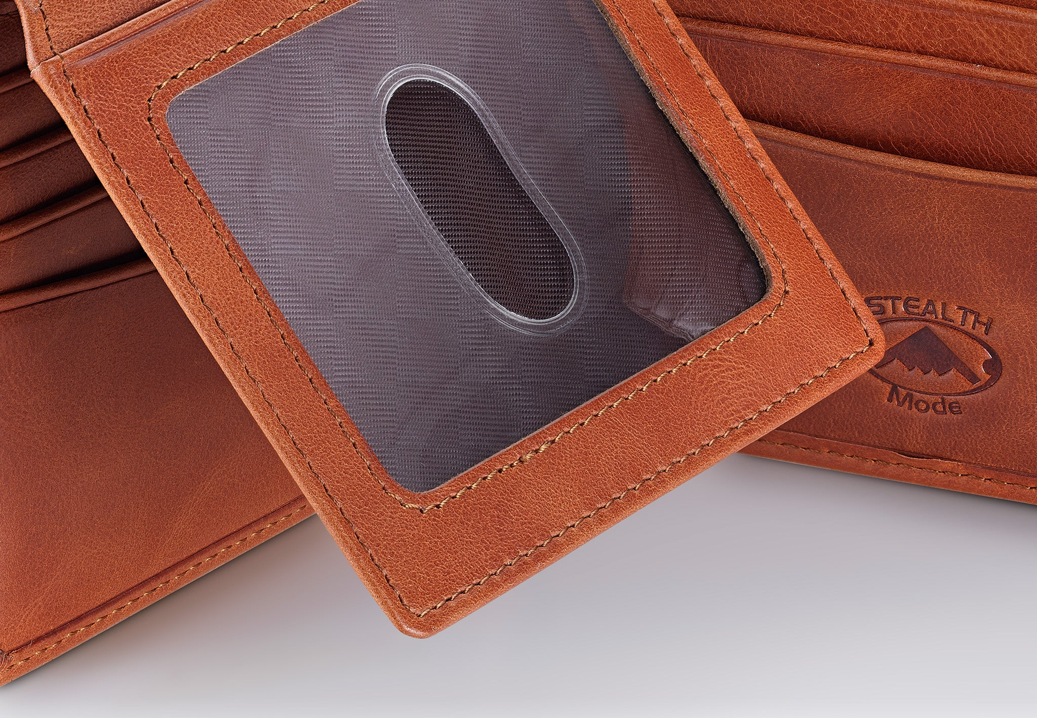 Light Brown Leather Bifold Wallet for Men With ID Window and RFID Blocking