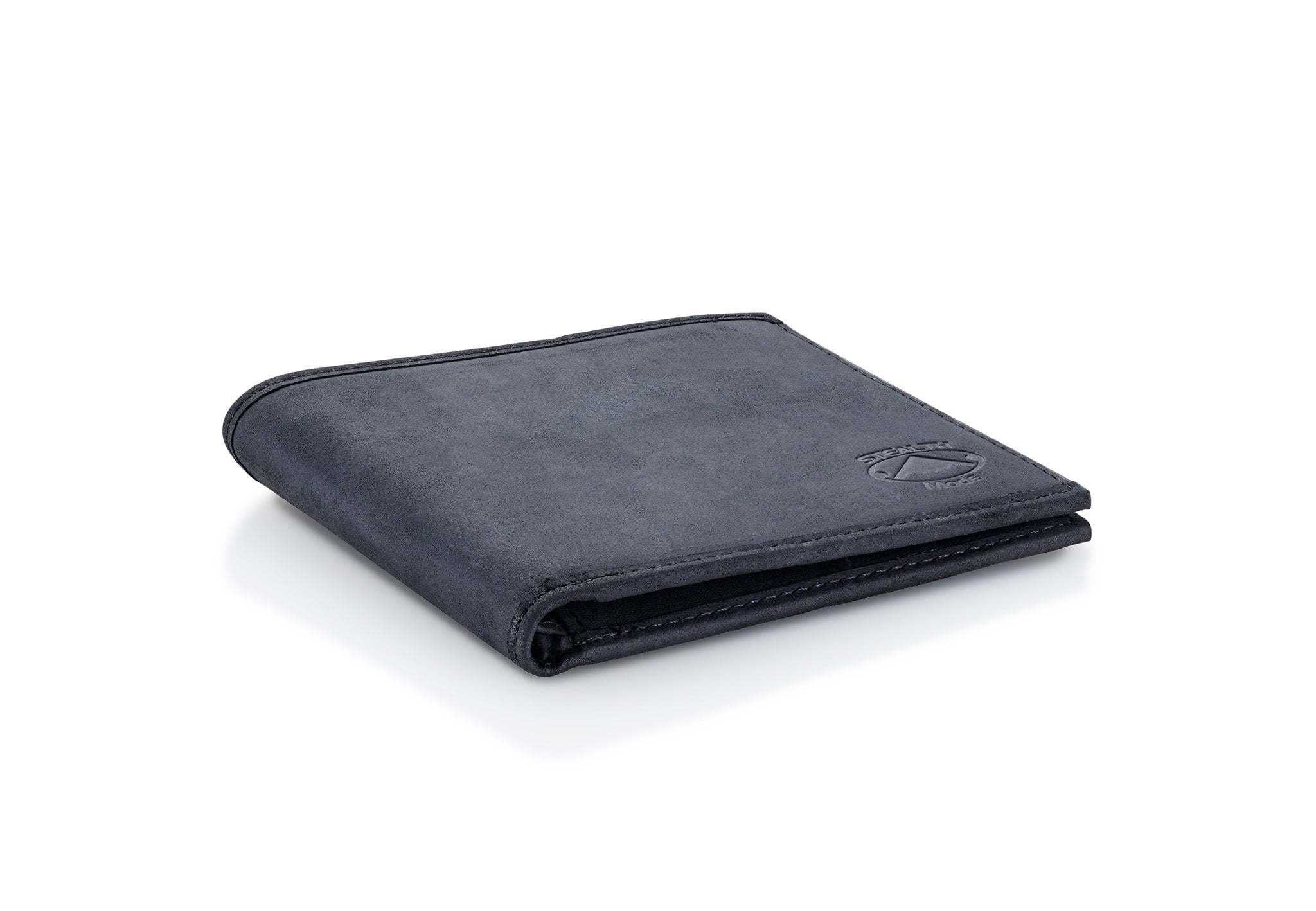 Black Bifold Leather Wallet with RFID Blocking and 8 Slots