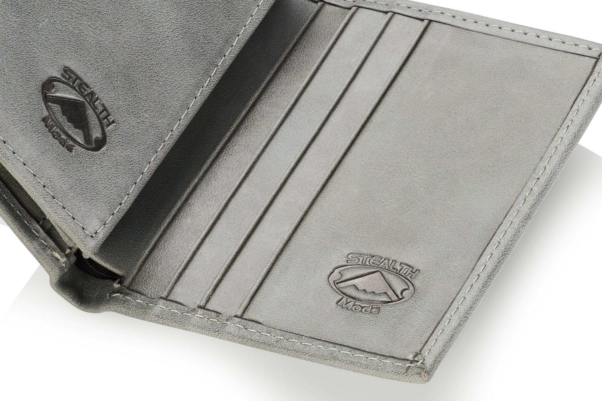 Grey Trifold Leather Wallet With RFID Blocking and ID Window