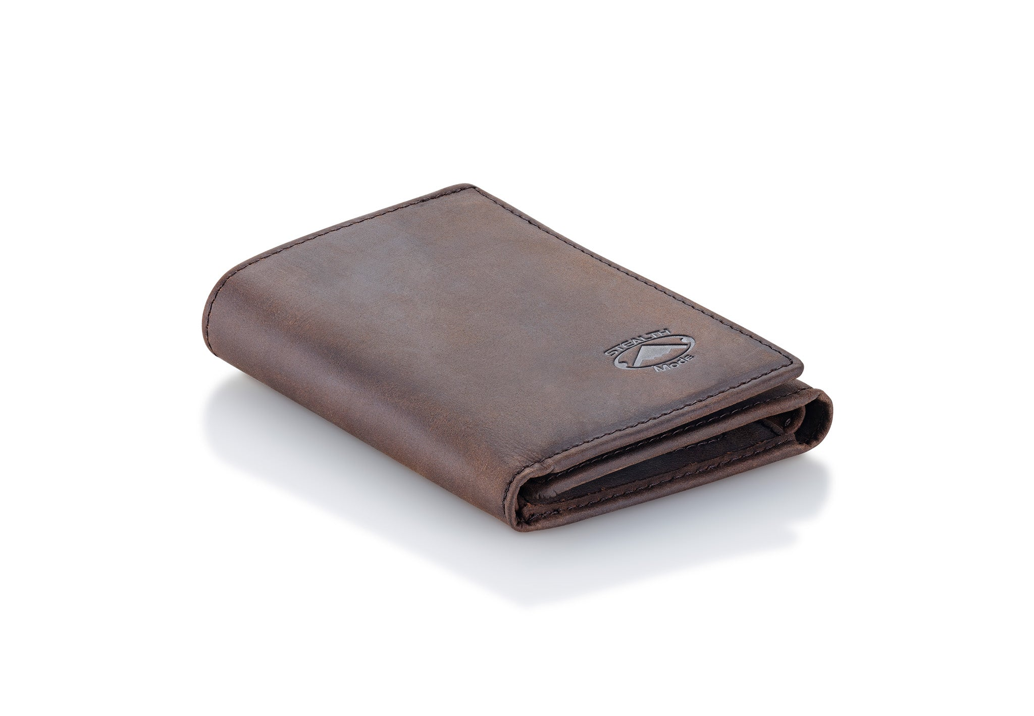 Brown Trifold Leather Wallet With RFID Blocking and ID Window