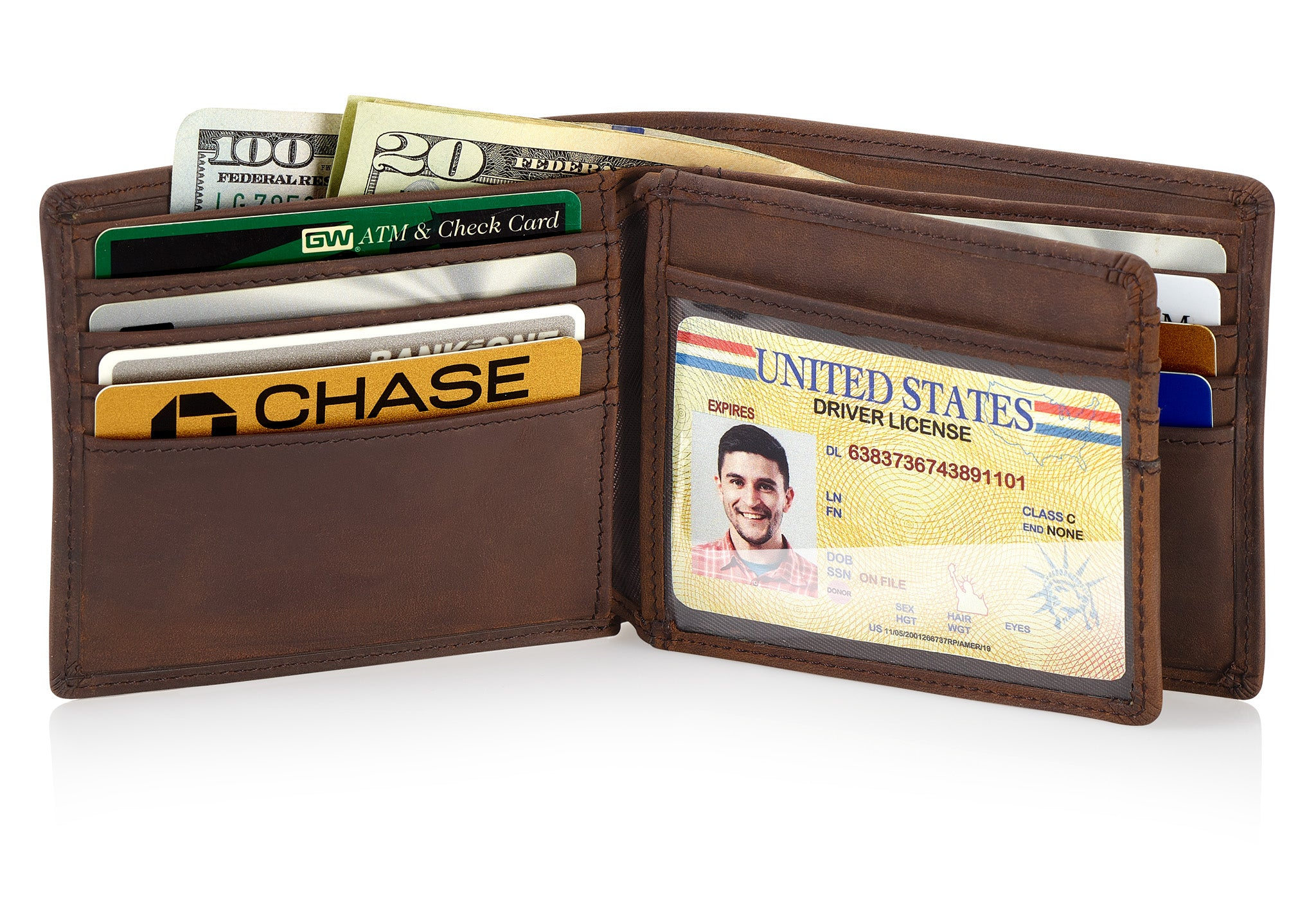 Brown Bifold Wallet with RFID Blocking and Flip Out ID Holder