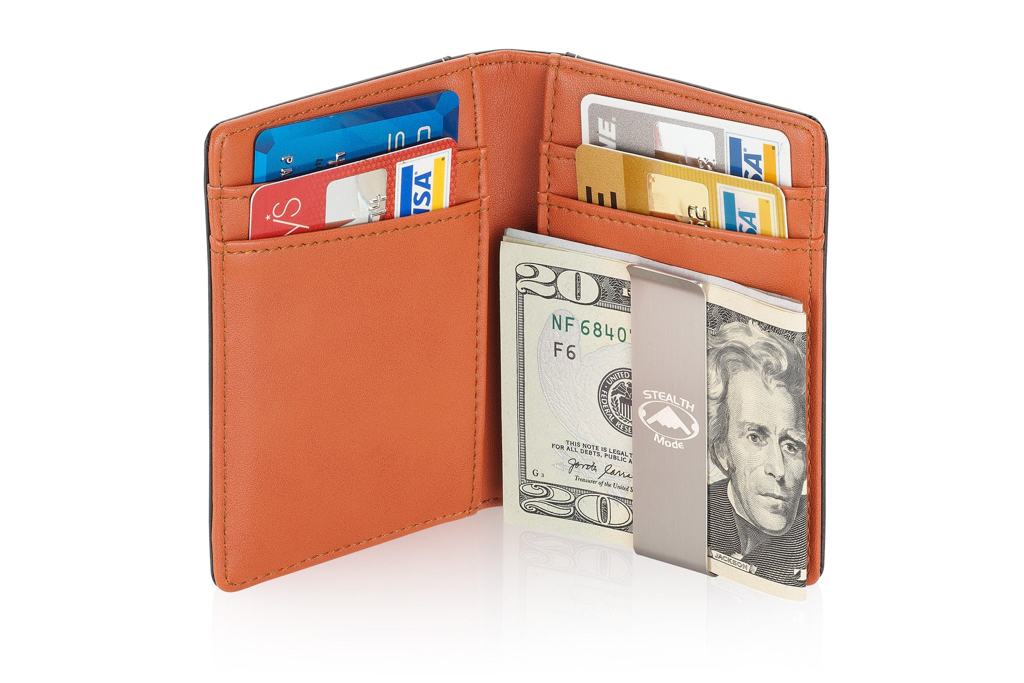 Stealth Mode Slim Front Pocket Money Clip Wallet for Men with RFID Blocking