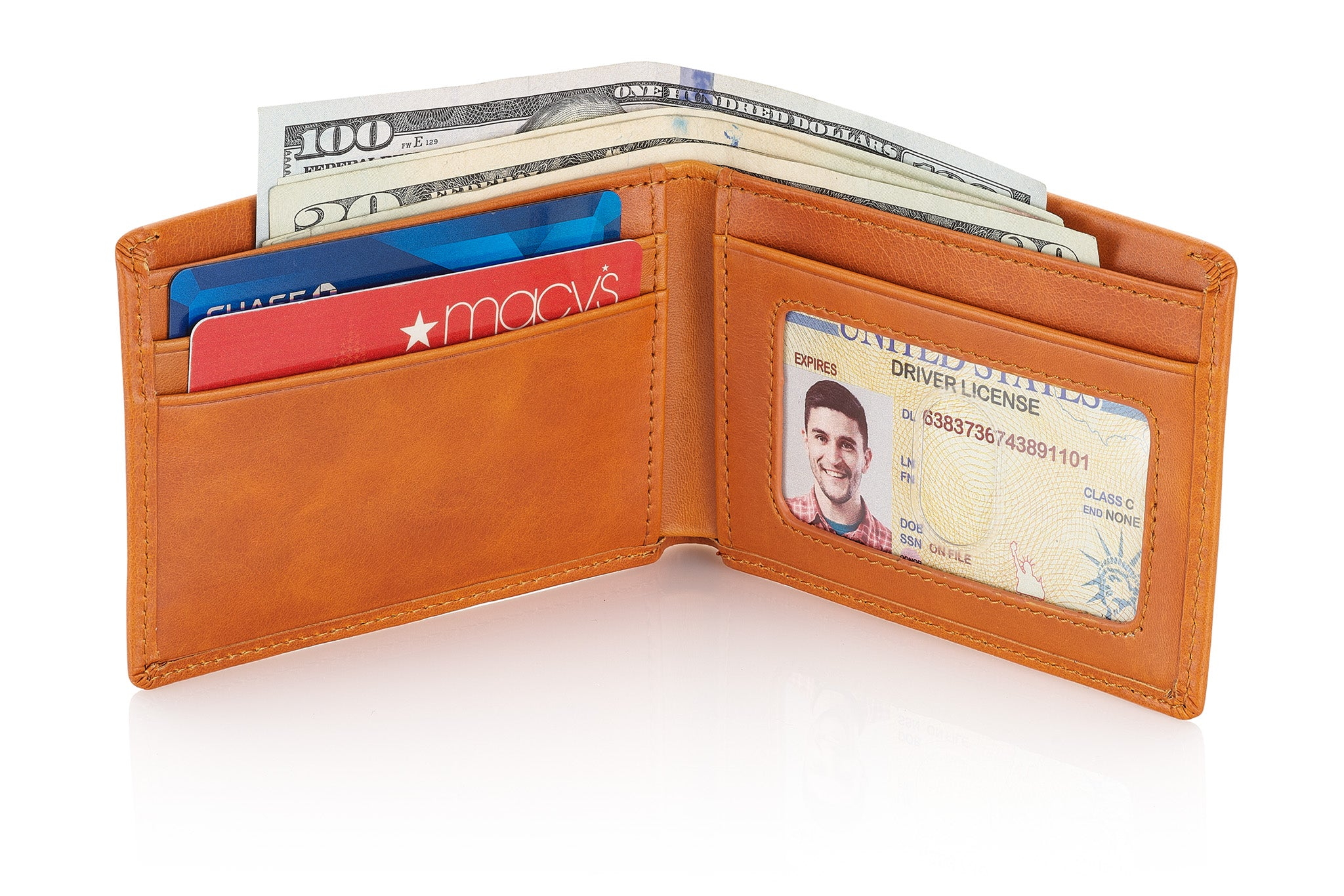 Slim Leather Bifold Wallet for Men with RFID Blocking and ID Window (Light Brown)