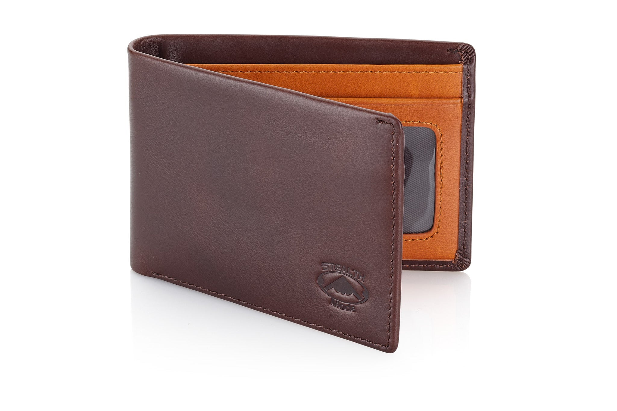 Stealth Mode Slim Leather Bifold Wallet for Men (Brown Two-Tone)