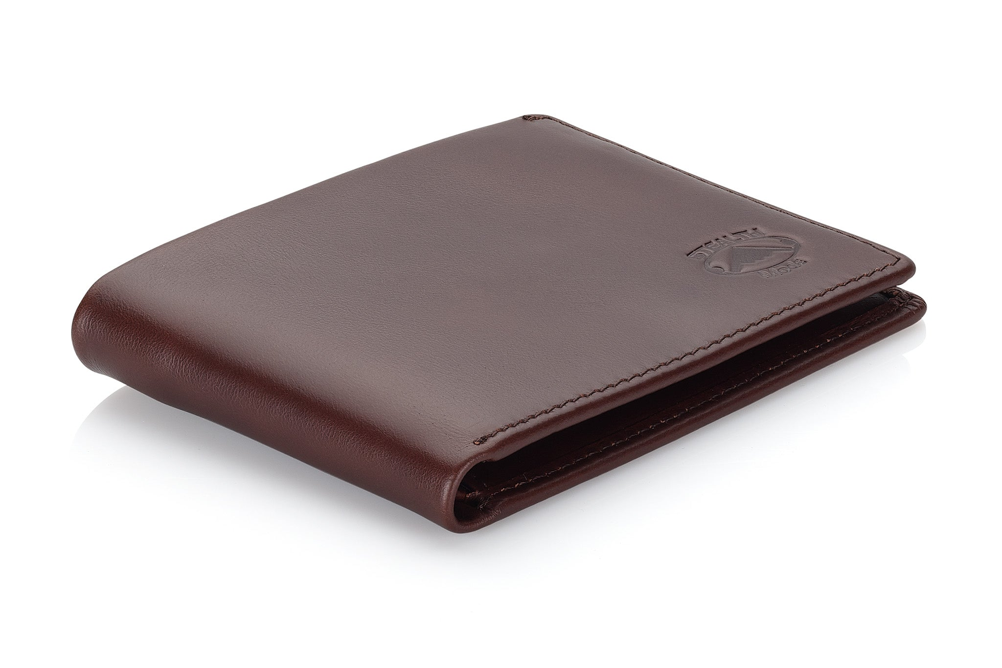 Slim Leather Bifold Wallet for Men with RFID Blocking and ID Window (Dark Brown)