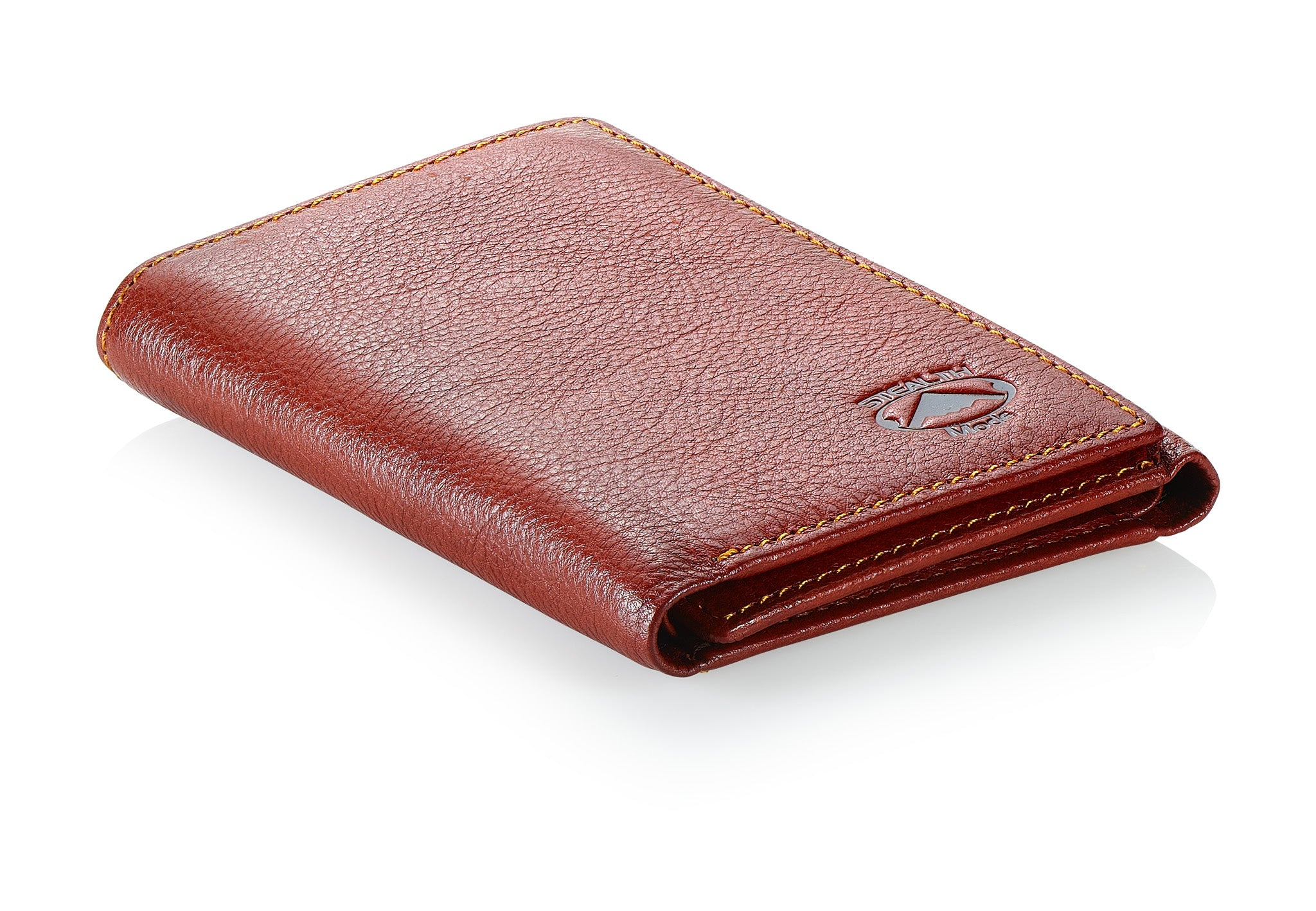 Burgundy Trifold Leather Wallet With RFID Blocking and ID Window