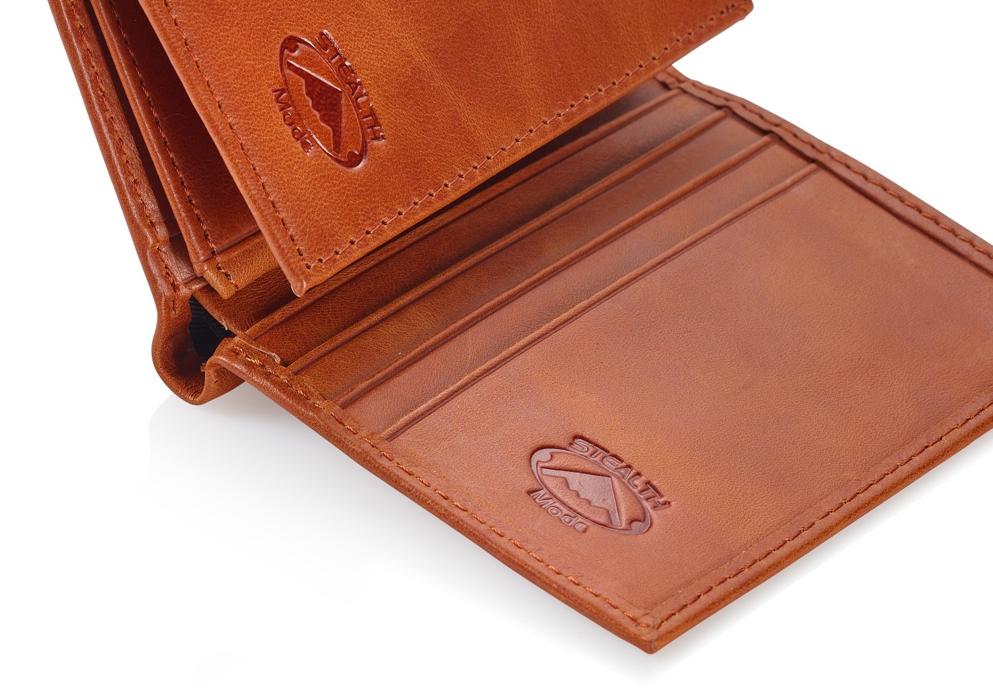Light Brown Trifold Leather Wallet With RFID Blocking and ID Window