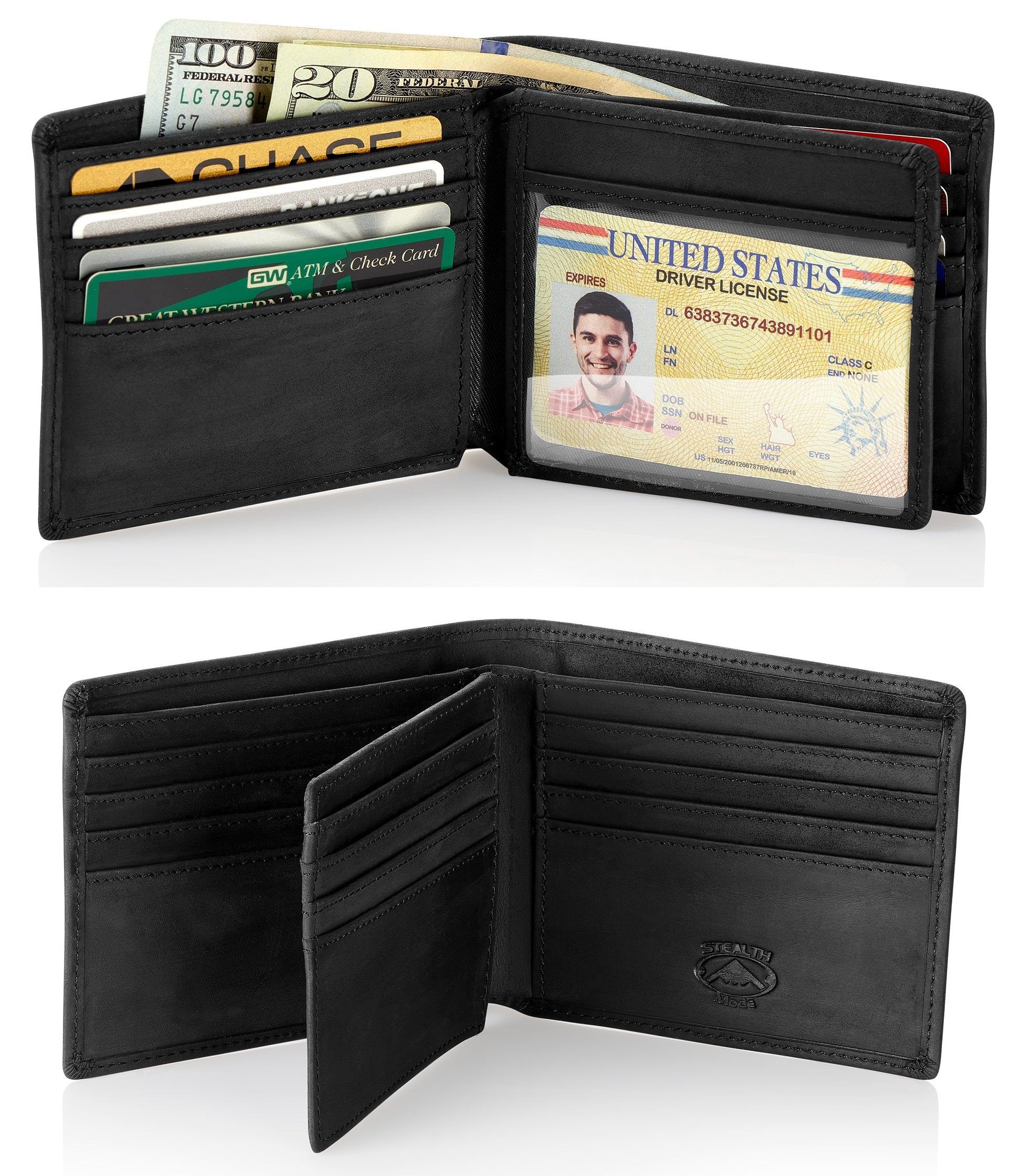 Black Bifold Wallet with RFID Blocking and Flip Out ID Holder